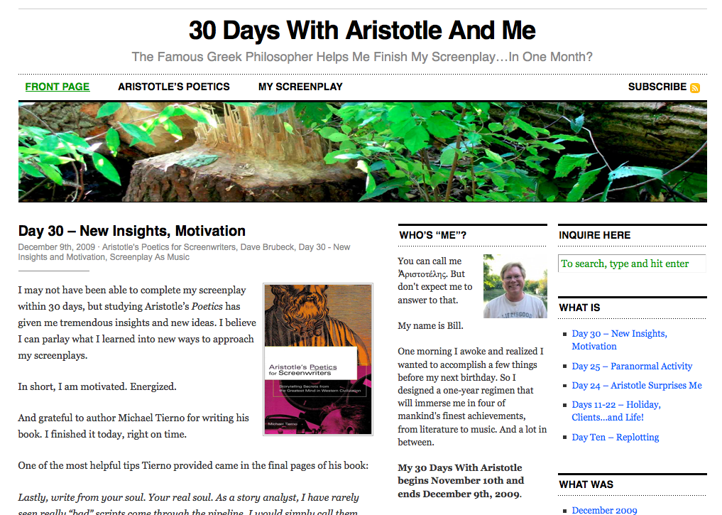 30 Days With Aristotle And Me