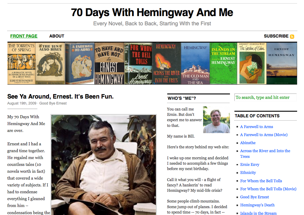 70 Days With Hemingway And Me